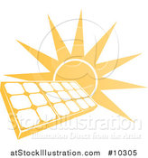 Vector Illustration of a Bright Orange Sun Behind a Solar Panel Photovoltaics Cell by AtStockIllustration