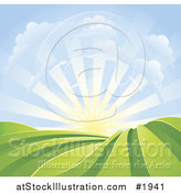 Vector Illustration of a Bright Sunrise over Hills by AtStockIllustration
