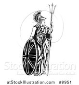 Vector Illustration of a Britannia, Personification of Britain, Standing with a Union Jack Shield and Holding a Trident by AtStockIllustration