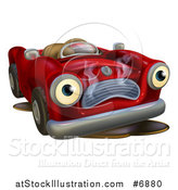 Vector Illustration of a Broken down Red Convertible Car Character by AtStockIllustration