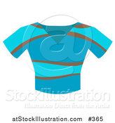 Vector Illustration of a Brown and Blue V Neck Tshirt by AtStockIllustration