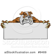 Vector Illustration of a Brown and Gray Aggressive Bulldog Monster Mascot Holding a Blank Sign by AtStockIllustration