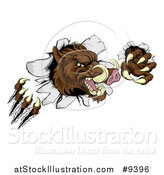 Vector Illustration of a Brown Boar Monster Slashing Through a Wall by AtStockIllustration