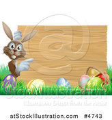 Vector Illustration of a Brown Bunny by a Wood Sign and Easter Eggs by AtStockIllustration