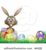 Vector Illustration of a Brown Bunny Holding Basket by Easter Eggs by AtStockIllustration