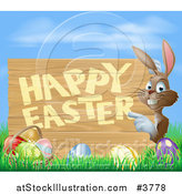 Vector Illustration of a Brown Bunny Pointing to a Happy Easter Sign, with a Basket and Easter Eggs in Grass by AtStockIllustration