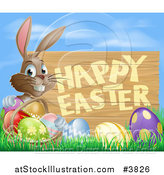 Vector Illustration of a Brown Bunny with a Basket and Easter Eggs in Grass, by a Happy Easter Sign and Blue Sky by AtStockIllustration