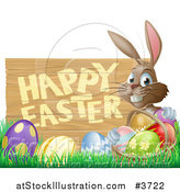 Vector Illustration of a Brown Bunny with a Basket and Easter Eggs in Grass, by a Happy Easter Sign by AtStockIllustration