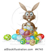 Vector Illustration of a Brown Bunny with Easter Eggs and a Basket by AtStockIllustration