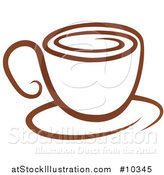 Vector Illustration of a Brown Coffee Cup on a Saucer by AtStockIllustration