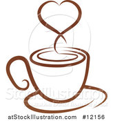 Vector Illustration of a Brown Coffee Cup with a Steam Heart on a Saucer by AtStockIllustration