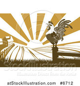 Vector Illustration of a Brown Crowing Rooster on a Post Against a Sunrise over a Farm House by AtStockIllustration