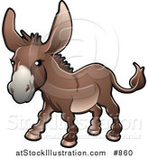Vector Illustration of a Brown Donkey (Equus Asinus) on a Farm by AtStockIllustration