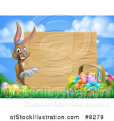 Vector Illustration of a Brown Easter Bunny Rabbit with Eggs and a Basket, Pointing Around a Blank Wood Sign Against Sky by AtStockIllustration