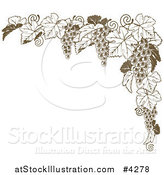 Vector Illustration of a Brown Grape Vine Corner Border by AtStockIllustration