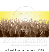 Vector Illustration of a Brown Group of Silhouetted Hands in a Crowd by AtStockIllustration