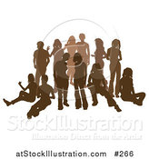 Vector Illustration of a Brown Group of Silhouetted People Hanging out in a Crowd by AtStockIllustration
