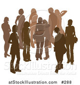 Vector Illustration of a Brown Group of Silhouetted People Hanging out in a Crowd, Two Friends Embracing in the Middle by AtStockIllustration