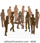 Vector Illustration of a Brown Group of Silhouetted People Hanging out in a Crowd, Two Friends Hugging by AtStockIllustration