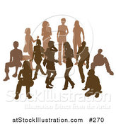 Vector Illustration of a Brown Group of Silhouetted People in a Crowd by AtStockIllustration