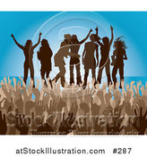 Vector Illustration of a Brown Group of Silhouetted Women Raising Their Arms and Celebrating on Stage at a Concert by AtStockIllustration