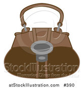 Vector Illustration of a Brown Handbag Purse by AtStockIllustration