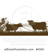 Vector Illustration of a Brown Silhouetted Farm House with Cows and Fields by AtStockIllustration