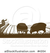Vector Illustration of a Brown Silhouetted Farm House with Sheep and Fields by AtStockIllustration