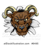 Vector Illustration of a Brown Snarling Angry Ram Breaking Through a Wall by AtStockIllustration