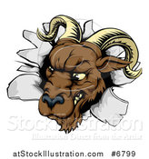 Vector Illustration of a Brown Snarling Ram Breaking Through a Wall by AtStockIllustration