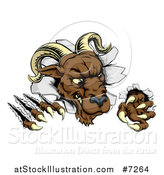 Vector Illustration of a Brown Vicious Ram Monster Clawing Through a Wall by AtStockIllustration