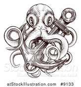 Vector Illustration of a Brown Woodblock Octopus and Anchor by AtStockIllustration