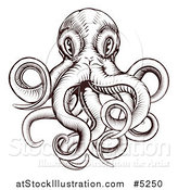 Vector Illustration of a Brown Woodblock Octopus by AtStockIllustration