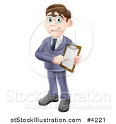 Vector Illustration of a Brunette Businessman Pointing to and Holding a Clipboard by AtStockIllustration