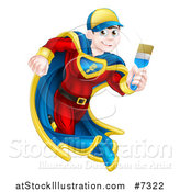 Vector Illustration of a Brunette Caucasian Male Super Hero Painter Running with a Brush 2 by AtStockIllustration