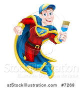 Vector Illustration of a Brunette Caucasian Male Super Hero Painter Running with a Brush by AtStockIllustration
