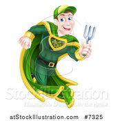 Vector Illustration of a Brunette Caucasian Male Super Hero Running with a Garden Fork or Hand Rake by AtStockIllustration
