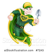 Vector Illustration of a Brunette Caucasian Male Super Hero Running with a Garden Trowel by AtStockIllustration