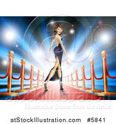 Vector Illustration of a Brunette Latina Female Celebrity Posing on a Red Carpet by AtStockIllustration