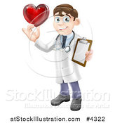 Vector Illustration of a Brunette Male Doctor Holding a Heart and Medical Chart by AtStockIllustration