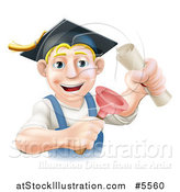 Vector Illustration of a Brunette Male Plumber Graduate Holding a Certificate and Plunger by AtStockIllustration