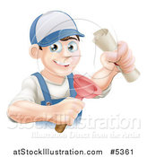 Vector Illustration of a Brunette Male Plumber Holding a Certificate and Plunger by AtStockIllustration