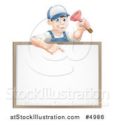 Vector Illustration of a Brunette Male Plumber Holding a Plunger and Pointing down at a White Board Sign by AtStockIllustration