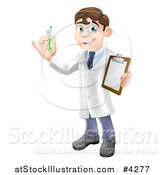 Vector Illustration of a Brunette Male Scientist Holding a Clipboard and Test Tube by AtStockIllustration