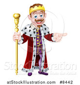 Vector Illustration of a Brunette White King Holding a Scepter and Pointing to the Right by AtStockIllustration