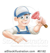 Vector Illustration of a Brunette White Male Plumber Holding a Plunger over a Sign by AtStockIllustration