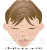 Vector Illustration of a Brunette White Woman's Face with Bangs and Closed Eyes by AtStockIllustration