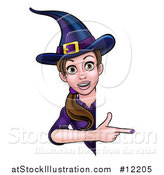 Vector Illustration of a Brunette Witch Pointing Around a Halloween Sign by AtStockIllustration