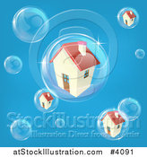 Vector Illustration of a Bubble in the Housing Market with Homes in Bubbles on Blue by AtStockIllustration