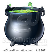 Vector Illustration of a Bubbly Halloween Witch Potion Cauldron by AtStockIllustration